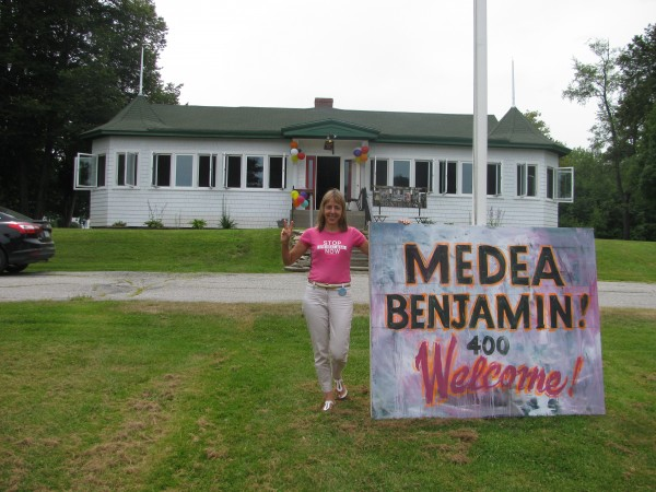 Social justice activist and CodePink co-founder Medea Benjamin came to the Waldo County Shrine Club in Belfast Saturday on her book tour through Maine.