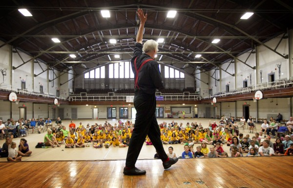 Trautman performs at the old Lewiston Armory for kids from local summer camps. Trautman, who has performed around the world, was headed to Edmonton, Alberta, Canada for his next show.