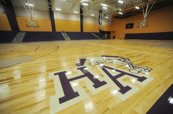 The gym at the new Hampden Academy school complex, which will open this August.