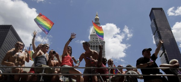 Participants in the Gay Pride Parade move down Fifth Avenue in New York on Sunday, June 24, 2012. The parade was held one year to the day of same-sex marriage being legalized in New York state.