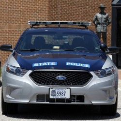 One of the new Ford Taurus police cruisers that will replace the Crown Victoria models sits at Virginia State Police headquarters Friday, June 15, 2012. Maine State Police will also be getting the new Ford Police Interceptors beginning this summer.