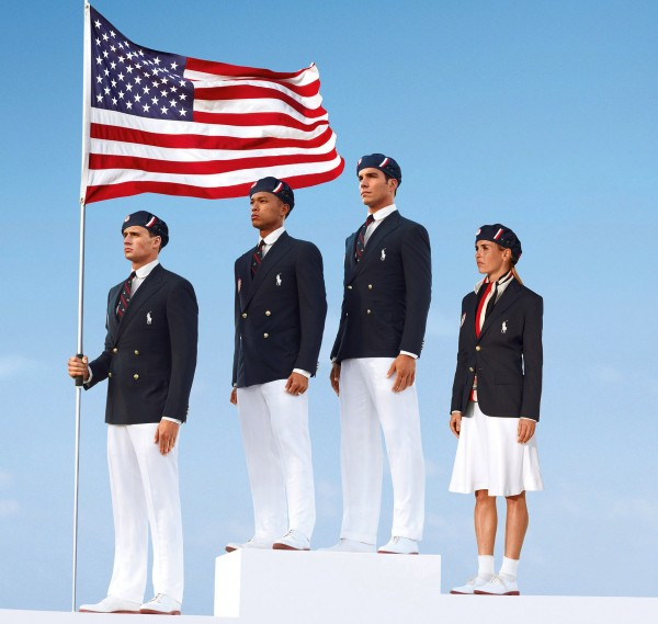 U.S. Olympic athletes (from left) swimmer Ryan Lochte, decathlete Bryan Clay, rower Giuseppe Lanzone and soccer player Heather Mitts model the the official Team USA Opening Ceremony Parade Uniform. Republicans and Democrats railed Thursday, July 12, 2012 about the U.S. Olympic Committee's decision to dress the U.S. team in Chinese-manufactured berets, blazers and pants while the American textile industry struggles economically with many U.S. workers desperate for jobs.