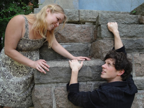The famous balcony scene, at College of the Atlantic's Shrine with Gabrielle Keene as Juliet and Kelsey Taylor as Romeo.