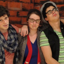 The Montague Boys - Romeo (Kelsey Taylor), Benvolio (Joanna Robinson), and Mercutio (Alexander Depavloff).