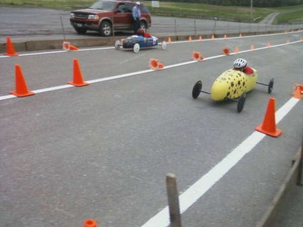 Rebecca Bullock of Hampden competes in the state soap box derby meet in Houlton in June. Bullock advanced to the national competition July 16-21 in Akron, Ohio.