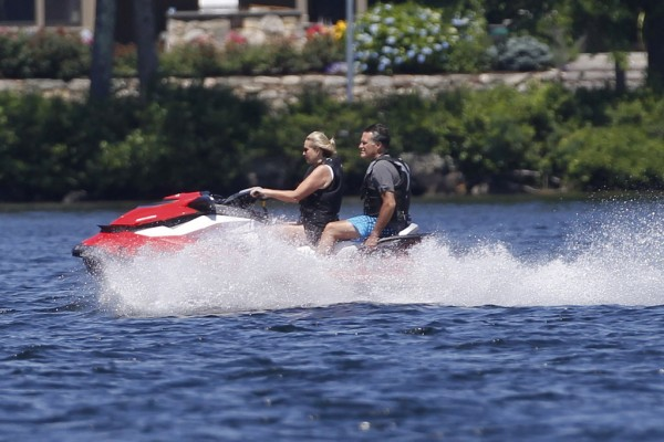 Republican presidential candidate, former Massachusetts Gov. Mitt Romney and wife Ann Romney jet ski on Lake Winnipesaukee in Wolfeboro, N.H., Monday, July 2, 2012, where Romney has a vacation home.
