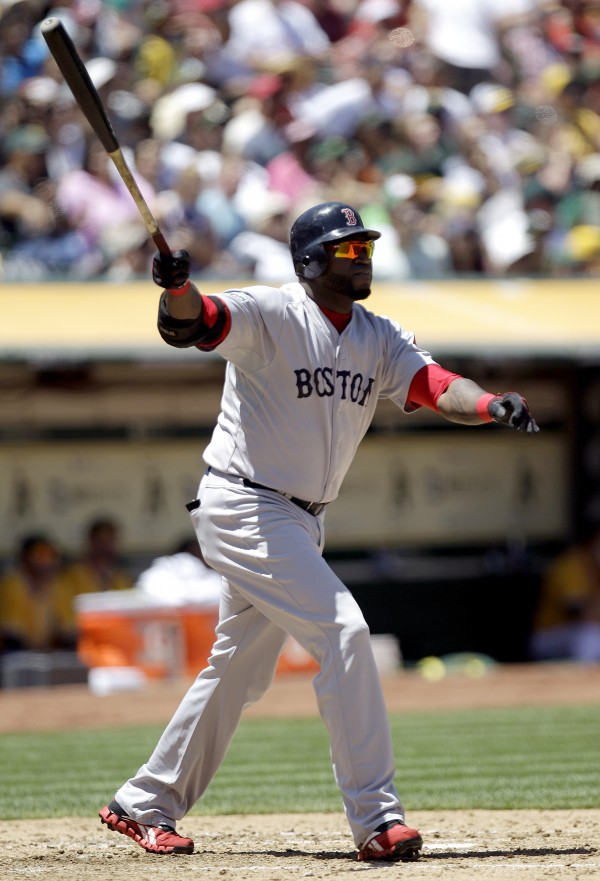 Boston Red Sox's David Ortiz watches his 400th career home run off Oakland Athletics' A.J. Griffin in the fourth inning of a baseball game, Wednesday, July 4, 2012, in Oakland, Calif.