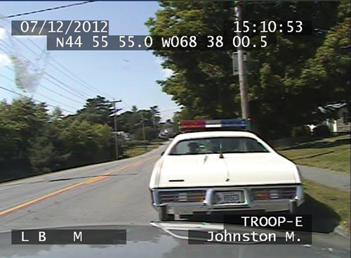 "Maine State Police Michael Johnston stopped a real 1978 cop car, decked out to look like the one used by Sheriff Rosco P. Coltrane on the TV show ""&quotThe Dukes of Hazzard,""&quot on July 12, 2012 and warned the driver from Bradley for having illegally attached lights and a police siren."
