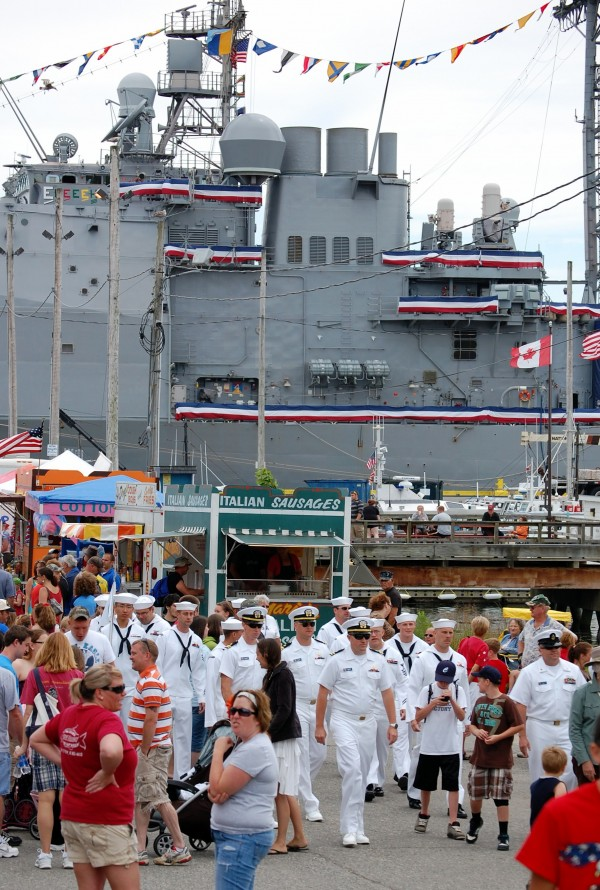 Sailors from the USS San Jacinto, a U.S. Navy warship that is docked this week in Eastport, enjoyed coming ashore Wednesday to mingle with the crowds enjoying he community's annual Independence Day celebration.