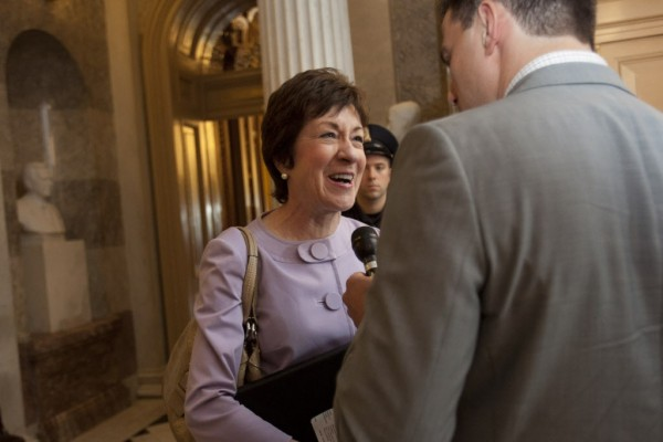 Sen. Susan Collins, R-Maine is interviewed on Capitol Hill in Washington, Thursday, July 12, 2012, after casting her 5,000th consecutive vote.