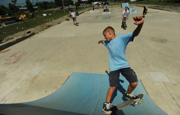 Gage Stuart of Brewer uses the newly relocated skate park along Maine Avenue in Bangor on Thursday, July 12, 2012.