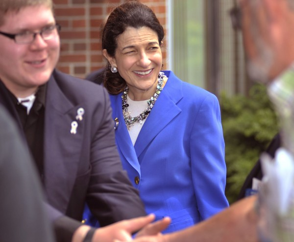 U.S. Sen. Olympia Snowe introduces Zach Parker of Frankfort to American Legion members in 2011. Snowe credits Parker with inspiring her to introduce an act in the Senate that increases limits on military funeral protests.