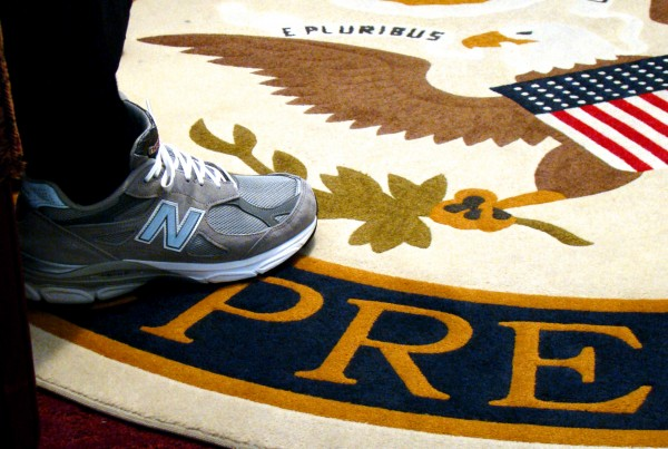 Rep. Mike Michaud delivered to President Obama a pair of New Balance shoes made in Maine.