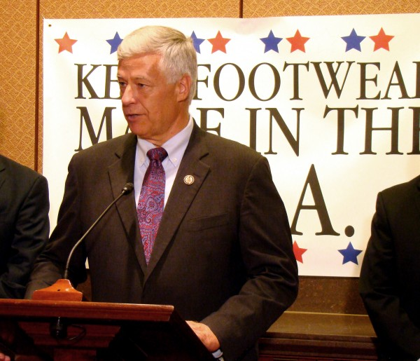 Rep. Mike Michaud, D-Maine, argues that dropping tariffs would hurt American manufacturers, including New Balance.