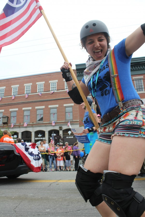 Rock Coast Rollers roller derby player Shevawn &quotMistress of the Knife&quot Innes skated in Thomaston's Fourth of July parade Wednesday.