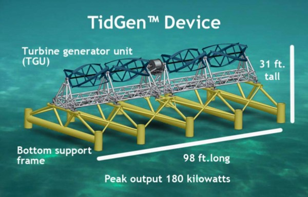 A schematic illustration of Ocean Renewable Power Co.'s underwater TideGen device, which can have a peak output of 180 kilowatts, according to company officials.