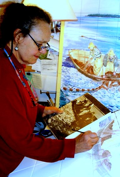 Columbia Falls artist April Adams works on converting a historic photograph into a art-on-tile mural commissioned by Brenda Chandler as a tribute to her late grandfather, a fisherman from Jonesport.