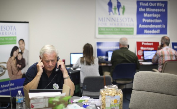 Volunteers for Minnesota for Marriage try to persuade voters to support a ban on gay marriage. The group also recently attempted to wage a boycott of General Mills to prevent other companies from joining the Minnesota-based food giant in opposing the amendment.