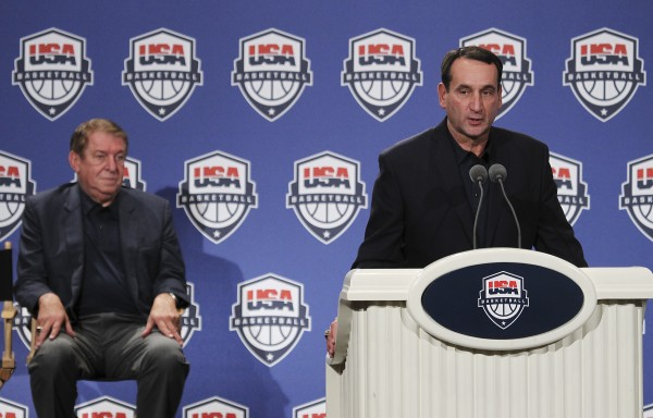Coach Mike Krzyzewski (right) speaks during the USA Olympic Basketball men's team news conference announcing the final roster in Las Vegas on Saturday, July 7, 2012.