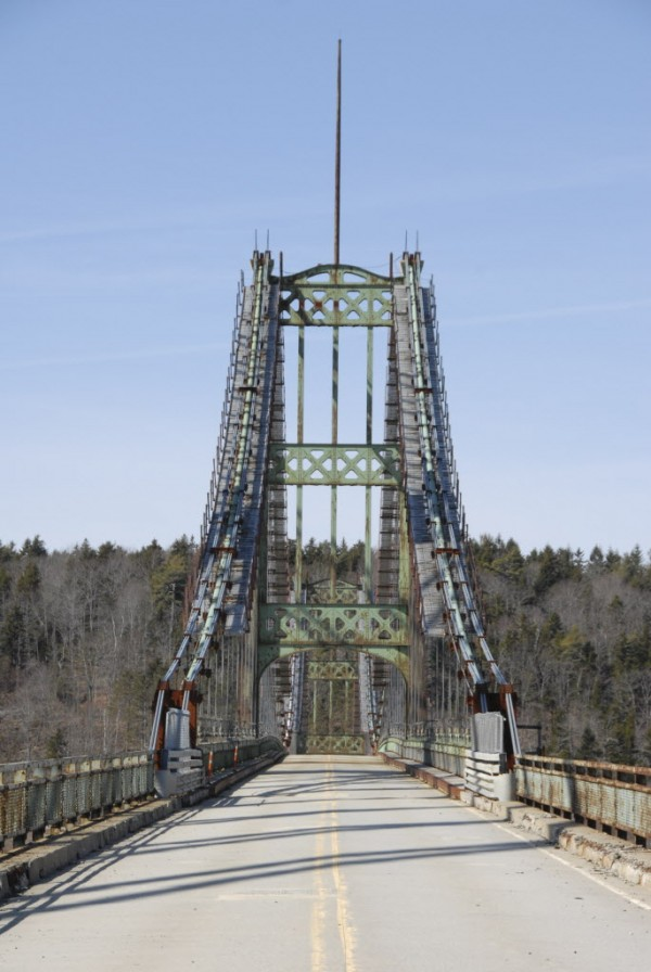 The Waldo-Hancock Bridge, which stands beside the Penobscot Narrows Bridge, is scheduled to be demolished starting in late summer 2012.