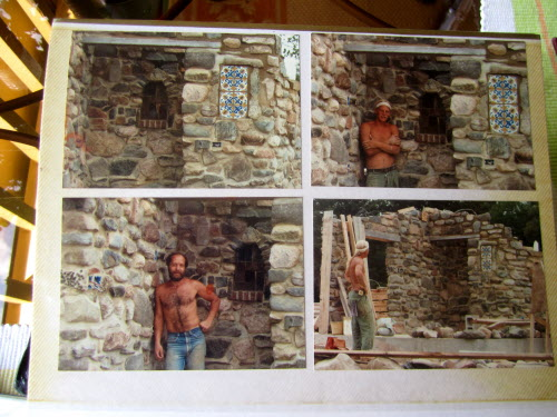 A young Thom Hope (lower left) appears in an old photo album from the 1980s, showing the early stages of construction of Thom's one-of-a-kind home. Thom's friend Fritz, who helped him with some of the work, appears in the other photos.