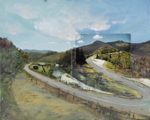 The 2008 oil and postcards wood panel entitled &quotRoad to Road&quot by William Wegman is seen in this undated photograph. The Bowdoin College Museum of Art is kicking off a new art exhibition called &quotWilliam Wegman: Hello Nature,&quot featuring the photographs, drawings, videos and writings of William Wegman.