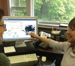 Scientist Mary Jane Perry (right), an oceanographer with UMaine's Darling Marine Center, and educator Carla Companion go over a webinar on the spring phytoplankton bloom in the subpolar North Atlantic. The results of a study reported this month in the journal Science show that the bloom can start up to a month earlier than scientists previously thought thanks to the whirlpools, or eddies, on the ocean surface.
