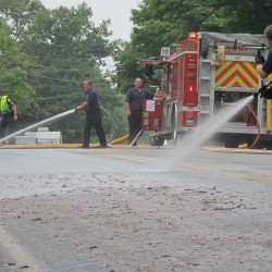 Spilled fish parts grease Route 1, slow Ellsworth traffic
