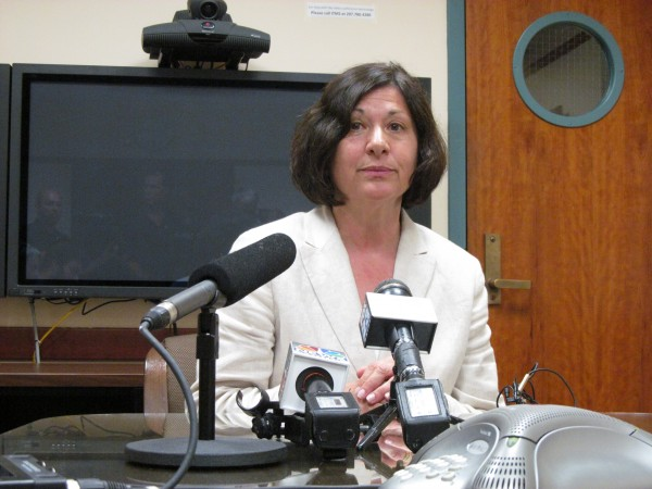 University of Southern Maine President Selma Botman fields questions from reporters Thursday afternoon, July 5, 2012, after announcing she would be leaving the USM post and taking a job in the University of Maine System chancellor's office.