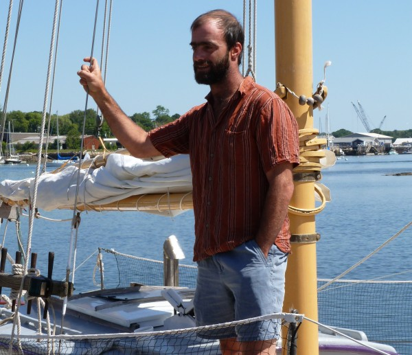 Daniel Bennett, 36, of Rockland, stands on his 36-foot sloop, Bufflehead in July 2012. Bufflehead is in its first season working as a charter boat.
