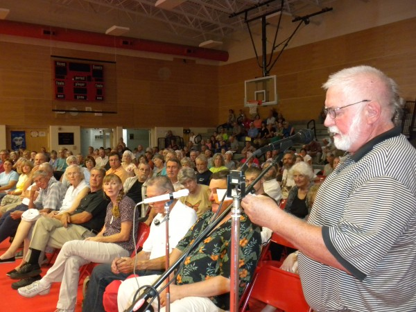 David Finley, of Dover-Foxcroft, was the first of 22 members of the public who got up to speak their minds and ask questions about the proposed east-west corridor at a public forum held Saturday, July 14, 2012, at the Ridgeview Community School in Dexter.