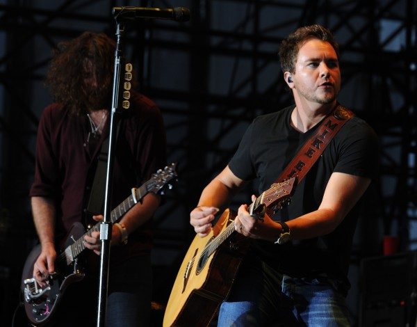 Mike Eli of the Eli Young Band plays on stage as one of three opening acts for Rascal Flats on Friday, July 6, 2012 along the waterfront in Bangor.
