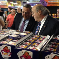 Gov. Paul LePage and Phantom Fireworks Vice President William Weimer tour the Scarborough store on Monday, July 2, 2012.