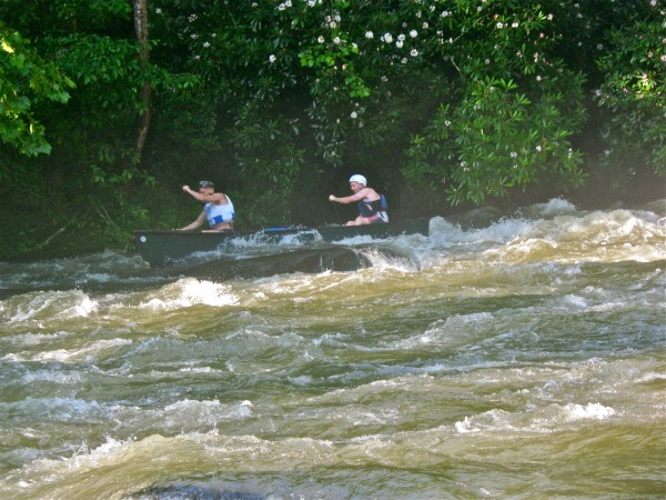 David Benner of North Carolina and Jeff Owen of Orono, Maine, race down the Nantahala River in North Carolina on June 22 while competing in the 2012 American Canoeing Association Whitewater Open Canoe Downriver National Championships.