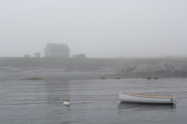 The U.S. Fish and Wildlife Service's summer intern house stands in the fog on Metinic on Tuesday, July 17, 2012.
