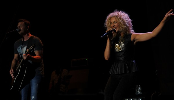 Jimi Westbrook (left) and Kimberly Roads of Little Big Town perform on stage as one of three opening acts for Rascal Flats on Friday, July 6, 2012 along the waterfront in Bangor.