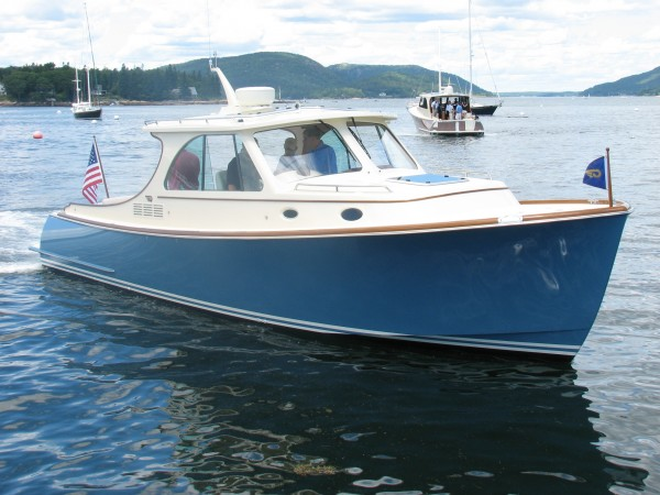 Hinckley Yachts launched its first model of the new T34 on Monday, July 2, 2012, from its service facility in the Southwest Harbor village of Manset on Mount Desert Island. The picnic-style boat is the second type of power yacht the firm has launched this year.