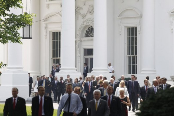 House Republicans leave the White House via the North Portico on Wednesday, June 1, 2011, after their meeting with President Obama on the debt ceiling.