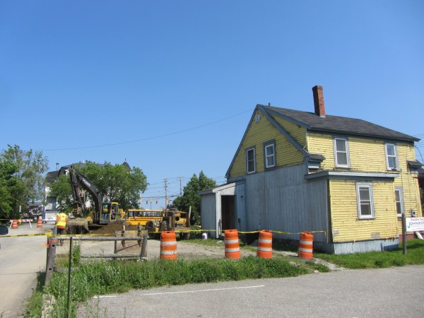 The rubble from the former commercial office building at 43 Park St. in Rockland was being cleared Friday, June 29, 2012, and the 47 Park St. building in the foreground was leveled Monday, July 2, 2012.