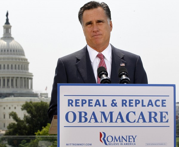 In this June 28, 2012, file photo Republican presidential candidate, former Massachusetts Gov. Mitt Romney speaks about the Supreme Court's health care ruling near the U.S. Capitol in Washington. In promoting the health care law, President Barack Obama is repeating his persistent and unsubstantiated assurance that Americans who like their health insurance can simply keep it. Romney says quite the opposite, but his doomsday scenario is a stretch.