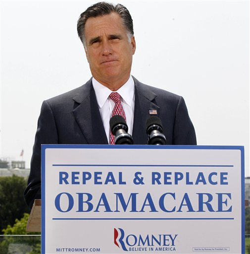 Republican presidential candidate, former Massachusetts Gov. Mitt Romney, speaks last month about the Supreme Court's health care ruling in Washington.