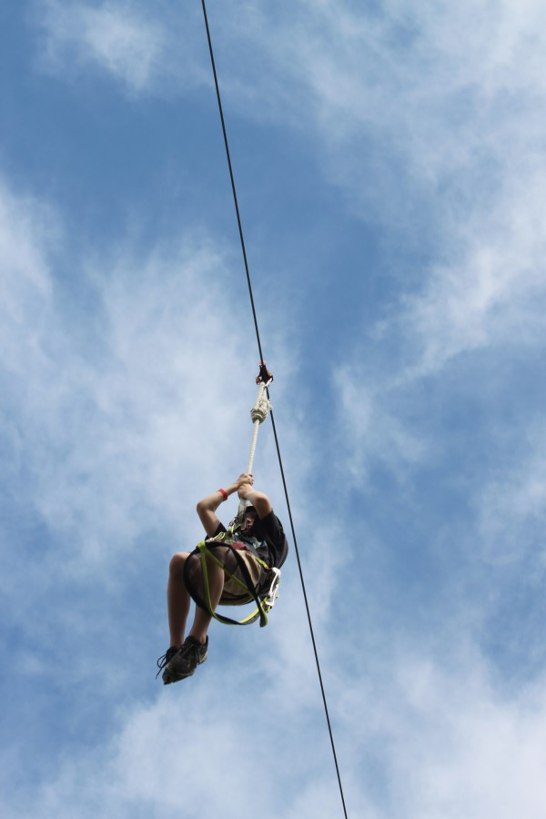 Shane Gagnon, 10, of Mariaville, uses the zip line at Wild Acadia Fun Park in Trenton on July 6, 2012. The ropes course, the Aerial Adventure, and zip line are new to the park this summer.