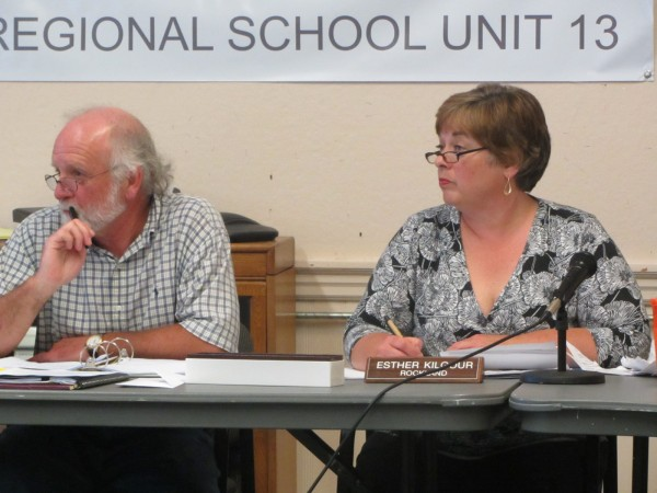 Esther &quotTess&quot Kilgour (right) was elected chairwoman of the Regional School Unit 13 Board Thursday night. Interim Superintendent Neal Guyer is to her left.
