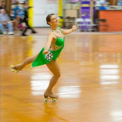 Denise Giuvelis, 26, of Biddeford, won the gold medal in the national Junior Solo Dance artistic roller skating competition in Nebraska. Roller skate dancing is much like ballroom dancing, Giuvelis said.