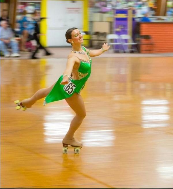 Denise Giuvelis, 26, of Biddeford, won the gold medal in the national Junior Solo Dance artistic roller skating competition in Nebraska. Roller skate dancing is much like ballroom dancing, Giuvelis said.