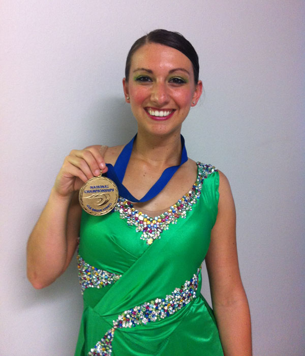 Denise Giuvelis, 26, of Biddeford, won the gold medal in the national Junior Solo Dance artistic roller skating competition in Nebraska.