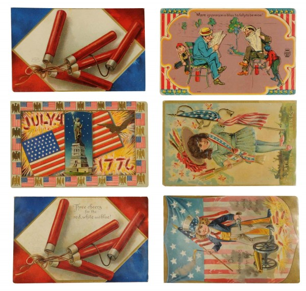 The lot of 45 early postcards celebrating the 4th of July sold for $275 in a Morphys Auctions sale last month.