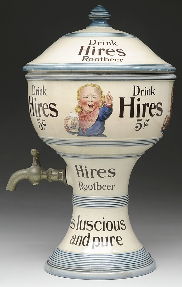 The ceramic Hires root beer soda fountain syrup dispenser brought $39,675 in a recent James D. Julia auction.