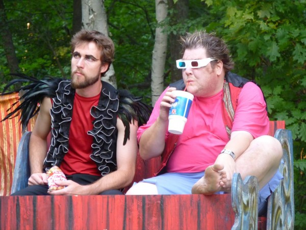 Nathan Roach as Oberon and Ben Layman as Puck star in Ten Bucks Theatre's production of &quotA Midsummer Night's Dream,&quot which runs July 19-29 at Indian Trail Park in Brewer.