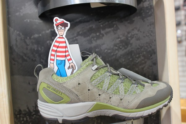 A 6-inch &quotWhere's Waldo&quot figurine is hidden in a hiking shoe in Epic Sports in Bangor on July 13, 2012. The figurine is one 20 Waldos hidden throughout downtown Bangor for the community search &quotFind Waldo in Bangor,&quot in celebration of Waldo's 25th birthday.